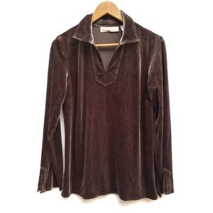 Vintage Taupe Stretch Velvet Split Neck Tunic Top